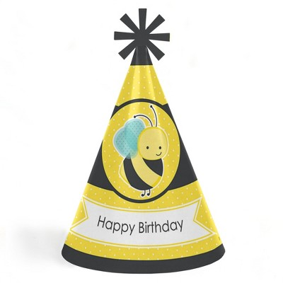 Big Dot of Happiness Honey Bee - Cone Happy Birthday Party Hats for Kids and Adults - Set of 8 (Standard Size)
