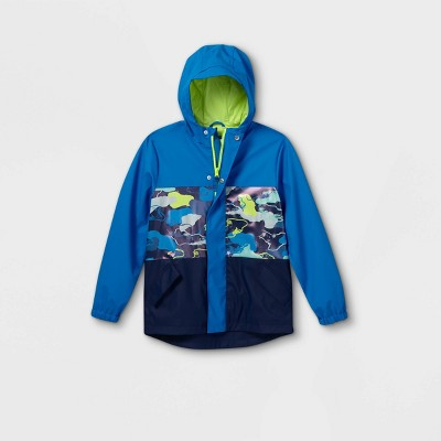 Boys' Camo Colorblock Rain Jacket - Cat & Jack™ Blue
