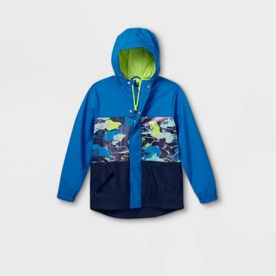 Boys' Camo Colorblock Rain Jacket - Cat & Jack™ Blue