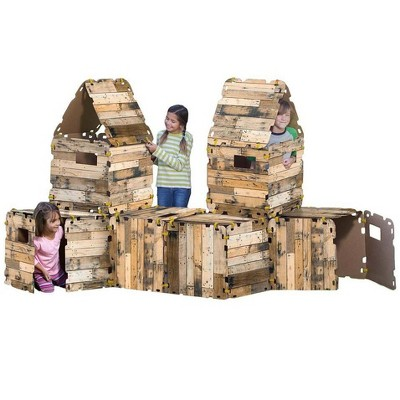 HearthSong 32-Panel Cabin Fantasy Forts Indoor Building Kit with Hook and Loop Connectors