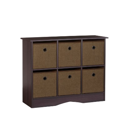 RiverRidge® 6-Cubby Storage Cabinet with Bins-Espresso/Brown