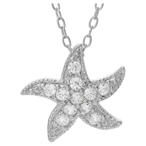"1/10 CT. T.W. Round-cut CZ Pave Set Starfish Pendant Necklace in Sterling Silver - Silver (18"") - image 1 of 2"