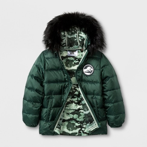 Toddler Boys' Jurassic Park Down Parka - Army Green - image 1 of 3