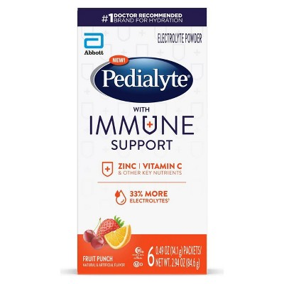 Pedialyte Immune Support Electrolyte Powder - Fruit Punch - 3.6oz