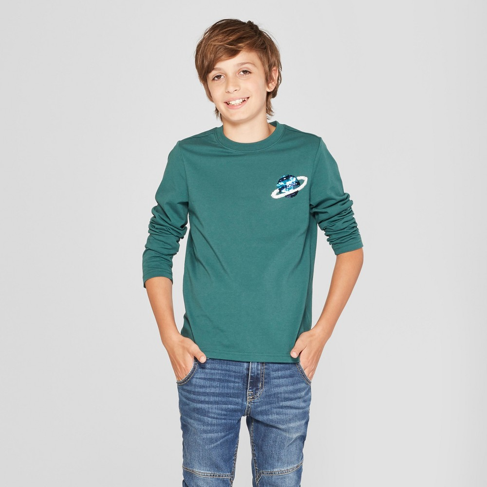 Boys' Flip Sequin Long Sleeve T-Shirt - Cat & Jack Green XS