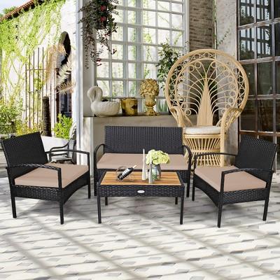 Costway 4PCS Patio Rattan Furniture Set Sofa Chair Coffee Table W/ Cushion White\Gray\Brown