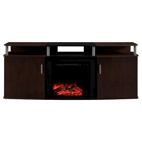Kimmel Electric Fireplace Tv Console, Dark Cherry Wood Fireplace Tv Stand