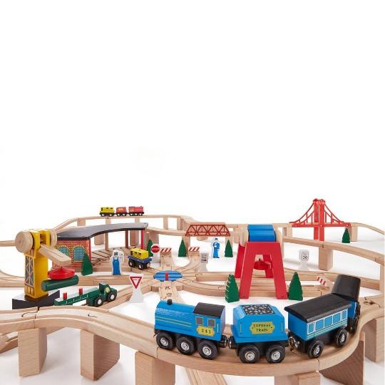 Melissa & Doug Deluxe Wooden Railway Train Set (130+pc) image number null