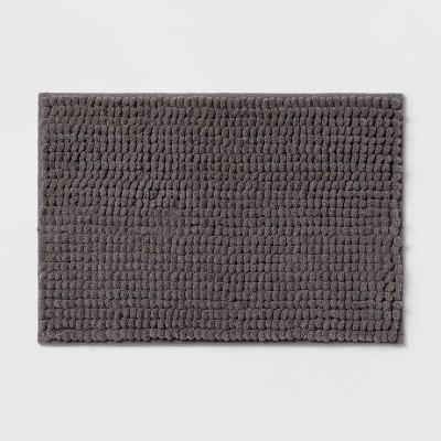 """17""""x24"""" Chunky Chenille Memory Foam Bath Rug Dark Gray - Room Essentials™"""
