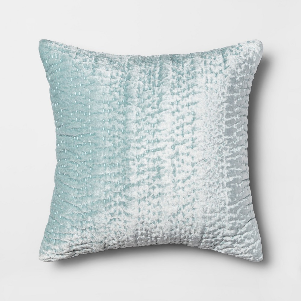 Quilted Velvet Square Throw Pillow Teal (Blue) - Opalhouse