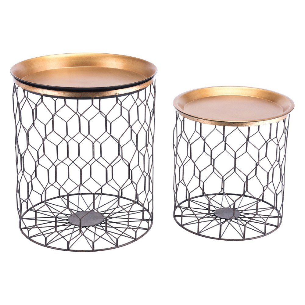 Global Steel Accent Tables Set of 2 Gold - ZM Home