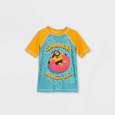 Toddler Boys' Minions Rash Guard Swim Shirt - Teal