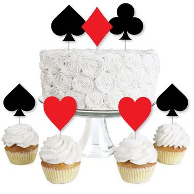 Big Dot of Happiness Las Vegas - Dessert Cupcake Toppers - Casino Party Clear Treat Picks - Set of 24