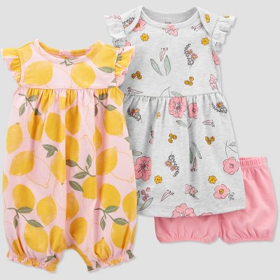 Baby Girls' 3pc Lemon Dress Set - Just One You® made by carter's Gray/yellow 3M