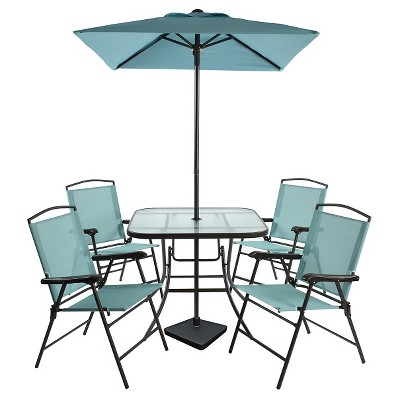 7pc Metal Folding Patio Dining Set Turquoise - Threshold™