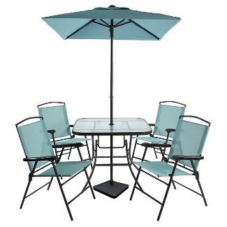 7pc Metal Folding Patio Dining Set Turquoise - Threshold™