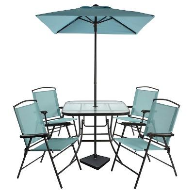 View Photos  sc 1 st  Target & 7pc Metal Folding Patio Dining Set Turquoise - Threshold™ : Target