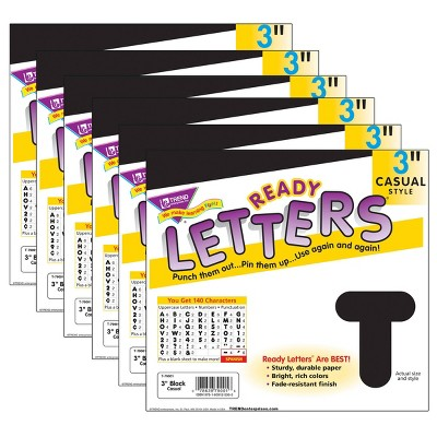 "6pk 3"" Casual Uppercase Ready Letters Black - TREND"