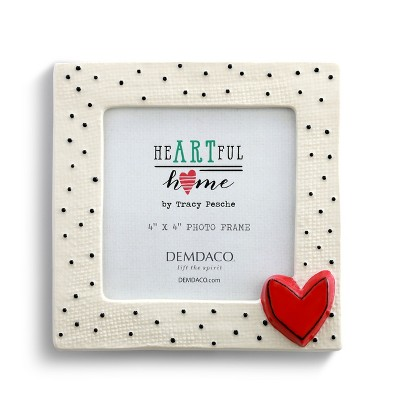 DEMDACO Small Dots with Heart Frame White