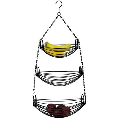 Home Basics 3-Tier Black Oval Hanging Basket