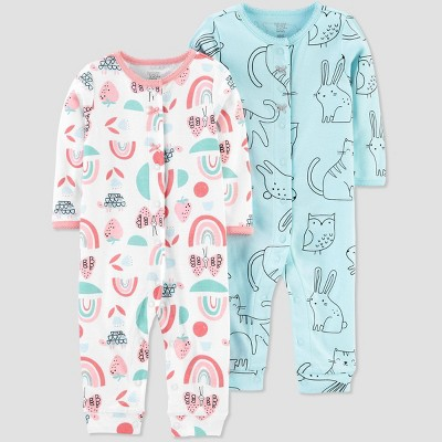 Baby Girls' 2pk Bunny Jumpsuits - Just One You® made by carter's Blue 6M