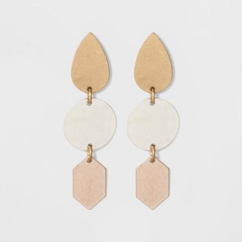 Geometric Three Tiered Earrings - Universal Thread™ - image 1 of 3