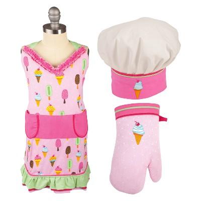Kids' Apron/Mitt/Hat 3pc Set Pink - Mu Kitchen