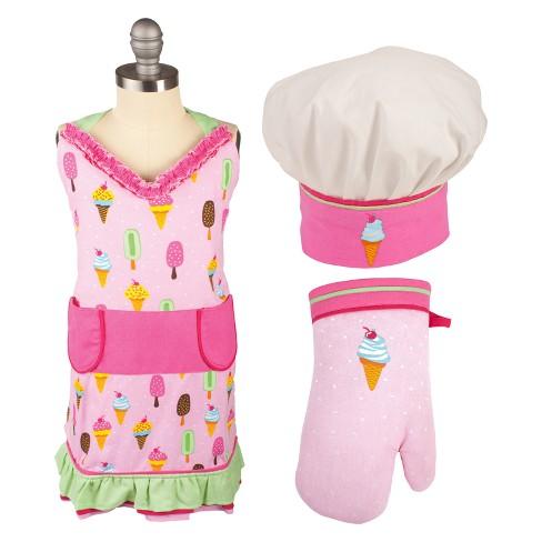Kids Apron/Mitt/Hat 3pc Set Pink - Mu Kitchen