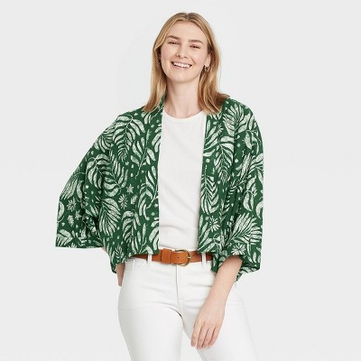 Women's Floral Print Cropped Jacket - Universal Thread™ Olive