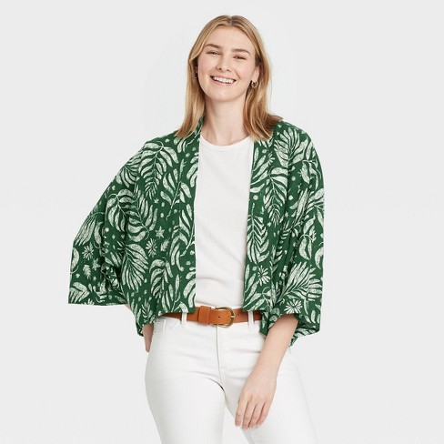 Women's Floral Print Cropped Jacket - Universal Thread™ Olive - image 1 of 2