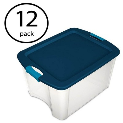 Sterilite 18 Gallon Plastic Storage Container Tote with Latching Lid (12 Pack)