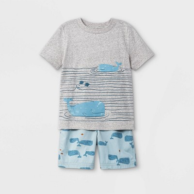 Toddler Boys' 2pc Whales Short Sleeve T-Shirt and Shorts Set - Just One You® made by carter's Blue/Gray