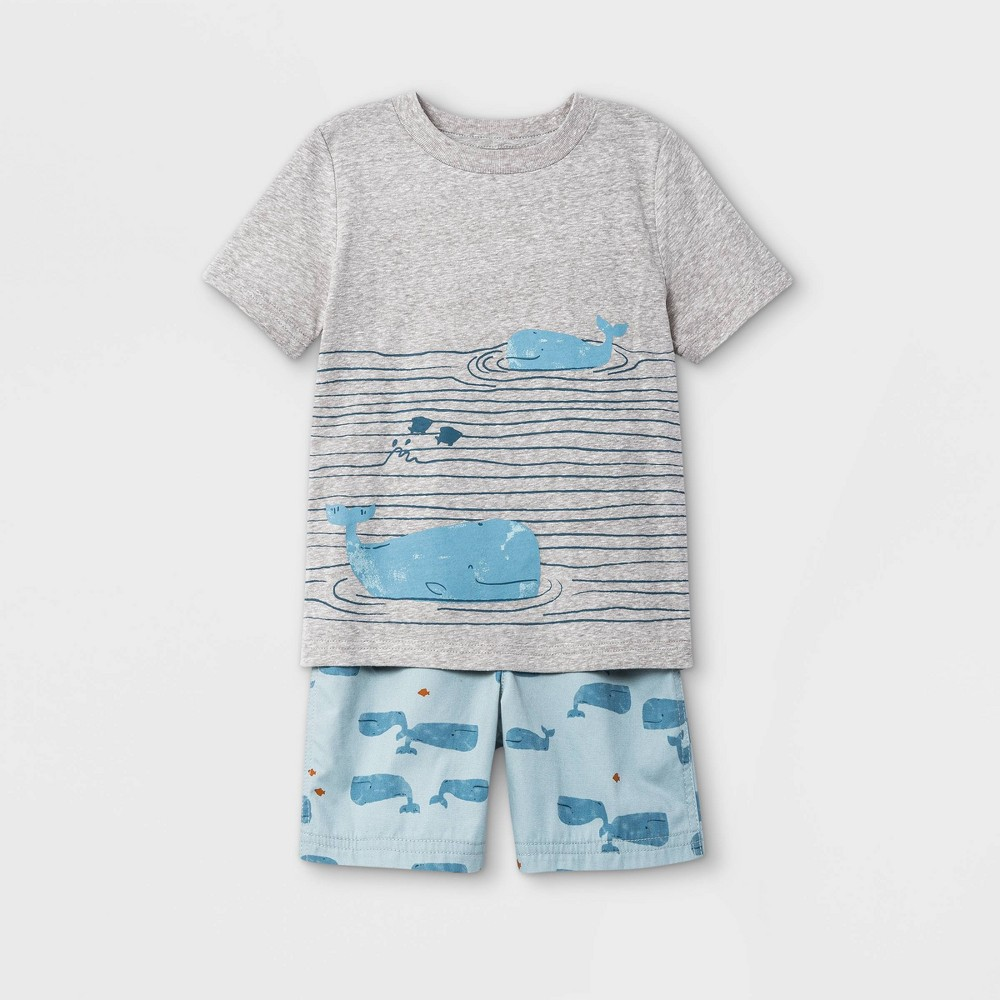 Toddler Boys 39 2pc Whales Short Sleeve T Shirt And Shorts Set Just One You 174 Made By Carter 39 S Blue Gray 3t