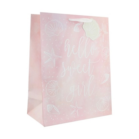 Pink Large Hello Sweet Girl Gift Bag - Spritz™ - image 1 of 2