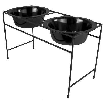 Platinum Pets Modern Double Cat/Dog Bowl - Midnight Black - 3.5 Cup