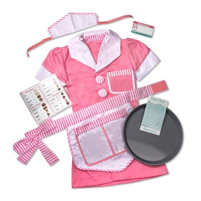 Melissa & Doug Waitress Role Play Costume Set (7pc) - Includes Apron, Order Pad, Cap