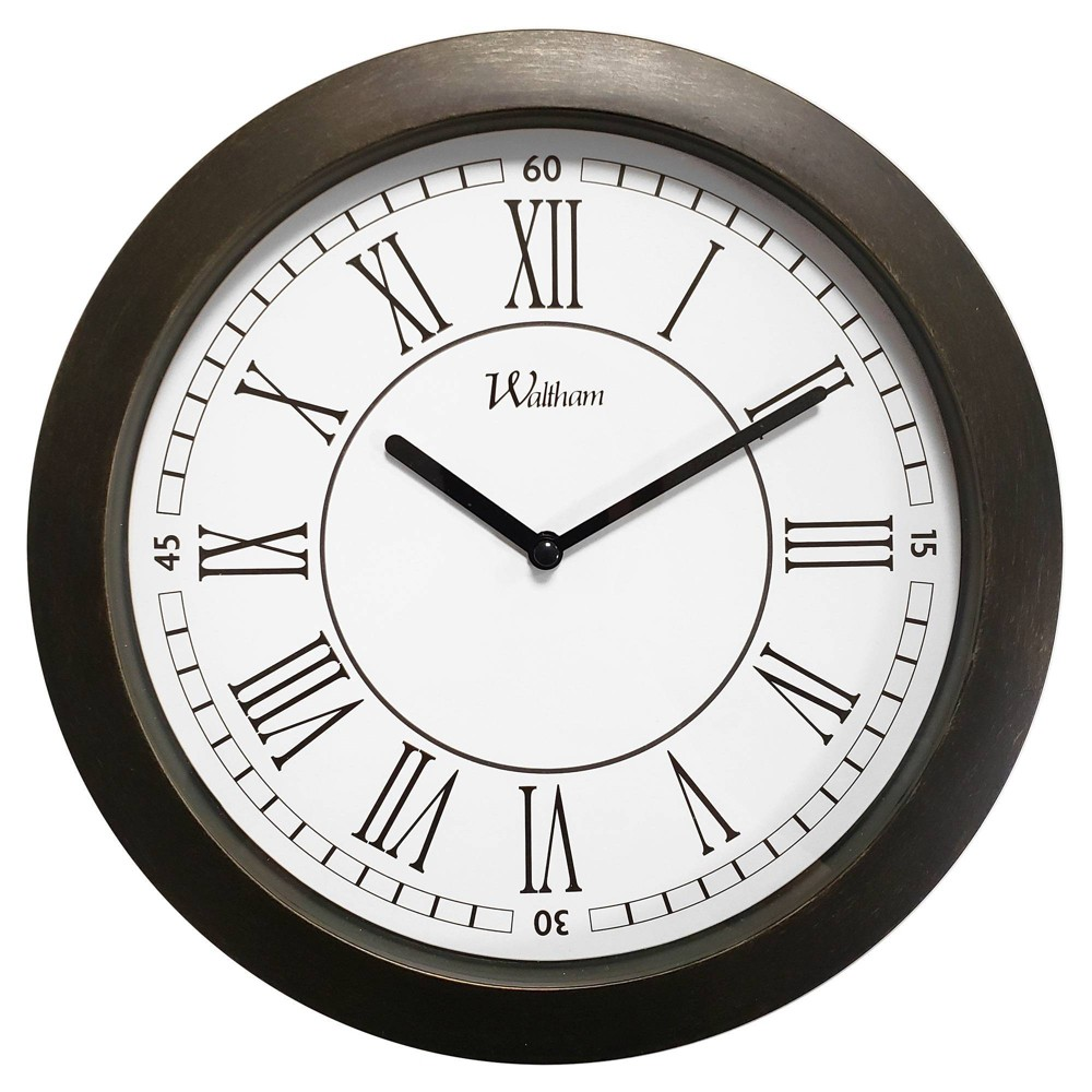 "Image of ""11"""" Roman Numeral Wall Clock Bronze - MZB, White Brown"""