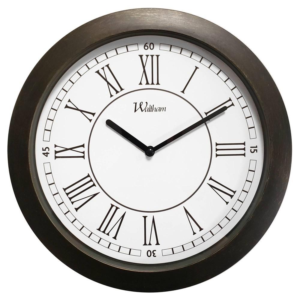 "Image of ""11"""" Roman Numeral Wall Clock Bronze - MZB"""