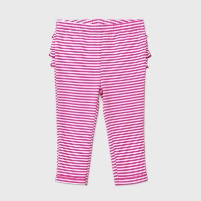 Baby Girls' Striped Ruffle Bum Pull-On Pants - Cat & Jack™ Pink 6-9M