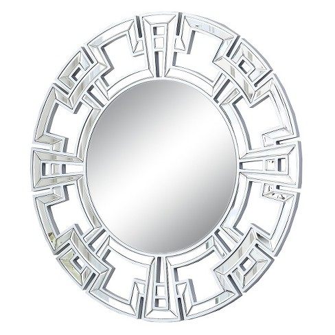 Round Kaydence Decorative Wall Mirror Silver - Abbyson Living - image 1 of 3