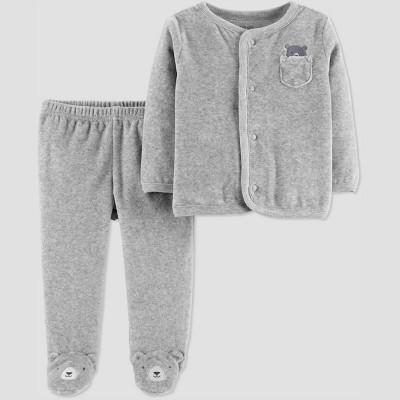 Baby Boys' 2pc Velour Bear Set - Just One You® made by carter's Gray 3M