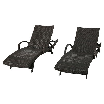 Salem Set of 2 Wicker Adjustable Chaise Lounge with Arms  - Christopher Knight Home
