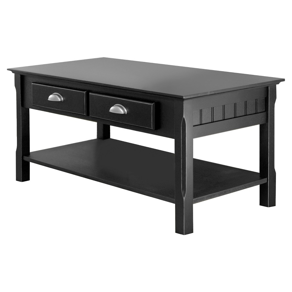 Timer Coffee Table, Drawers and Shelf - Black - Winsome