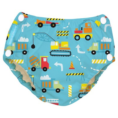 Charlie Banana Reusable Easy Snaps Swim Diaper, Under Construction M