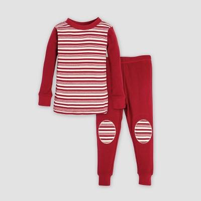 Burt's Bees Baby Baby Organic Cotton Peppermint Block Stripe Pajama Set - Cranberry 6-9M