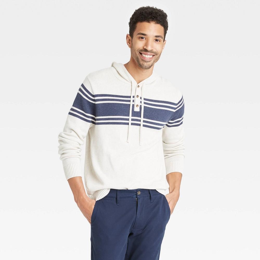 Men 39 S Regular Fit Striped Pullover Hoodie Sweater Goodfellow 38 Co 8482 Beige Navy S