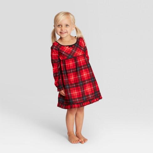 Toddler Plaid Girls  Holiday Notch Collar Pajama Nightgown - Wondershop™ Red e55e0dffb