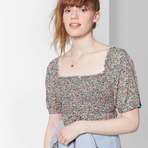 6d3e6e4b18f Women s Floral Print Short Sleeve Square Neck Smocked Top Midi Dress - Wild  Fable™ Black Orange