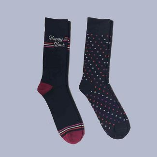 Men's 2pk Logo Novelty Crew Socks - Goodfellow & Co™ Deep Navy 6-12