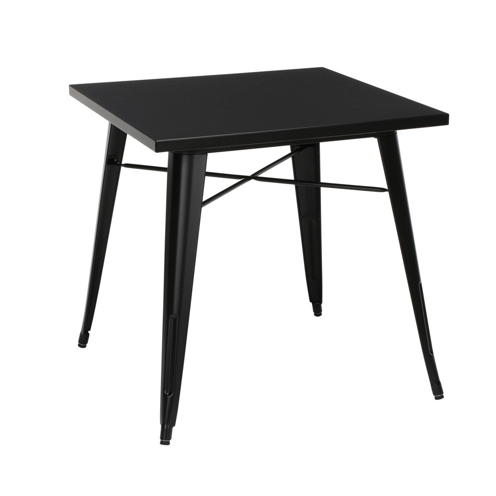 "Image of ""30"""" Industrial Modern Square Galvanized Steel Indoor/Outdoor Table Black - OFM"""